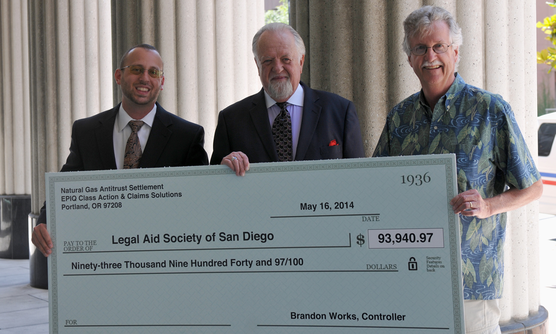 Baker, Burton & Bundy law firm presents $93,000 cy pres donation from major energy cases to the Legal Aid Society of San Diego
